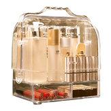 2 tiroirs acrylique transparent maquillage cosmétique organisateur boîte de rangement de bijoux bureau