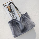 Fashion Women Plush Fur Handbag Purse Tote Shopping Large Shoulder Travel