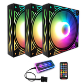 Coolmoon BILLOW 3PCS 120mm Ventilatore di raffreddamento RGB retroilluminato multistrato Mute Dissipatore di calore CPU PC con controllo wireless remoto RF