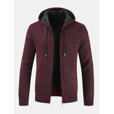 Men Plus Velvet Snowflake Cardigan Casual Hooded Collar Swea
