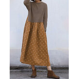 Women Vintage Polka Dot Print Patchwork Dress
