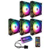 Coolmoon BILLOW 5PCS Colorful Luz de fundo 120mm CPU Cooler Fan Mute PC Dissipador de calor com o Controle Remoto