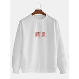 Herenmode Letter Crew Neck Casual Overhead Sweatshirt