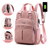 Women Nylon Waterproof Casual Patchwork Backpack With USB Charging Port For Outdoor School