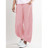Pure Color Elastic Waist Wide Leg Side Pocket Pants
