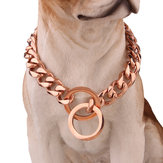 Stainless Steel Rose Gold Rantai Kalung Anjing Pet Collar Pelatihan Curb Dog Collar