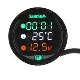 9V-24V 5-em-1 LED Visão noturna Carregador USB Medidor de tensão Temporizador Tabela de exibição de temperatura para motocicleta ATV UTV automóvel