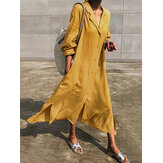 Pure Color Turn-down Collar Split Hem Casual Maxi Shirt Dress