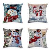 عيد الميلاد ثلج الطباعة القطن الكتان غطاء وسادة ديكور المنزل وسادة القضية