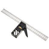 Drillpro Adjustable 300mm Aluminum Alloy Combination Square 45 90 Degree Angle Scriber Steel Ruler Woodworking Line Locator Ruler DIY Carpenter Measuring Tool
