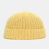 Chapeau en laine tricoté de couleur unie pour hommes