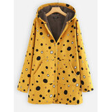 Print Polka Dots Pockets Quilted Fleece Hooded Coats