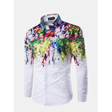 Flowers Splash-ink Splashed Paint Printing Lapel Long-sleeved Men Shirt