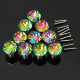 10Pcs 28mm Diamond Crystal Shape Glass Cabinet Knob Cupboard Drawer Pull Handle