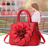 Women Lady Leather Elegant Handbag Flower Decoration Shoulder Evening Bag