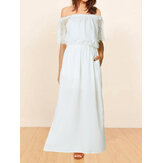 Women Short Sleeve Casual Lace Off Shoulder Maxi Dress