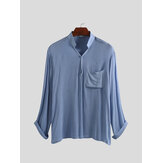 Men's Shirts Cotton Linen Casual Slim Fit Chest Pockets Collar Pullover Top Tees