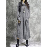 Corduroy Long Sleeve Turtleneck Causal Maxi Dress Baggy