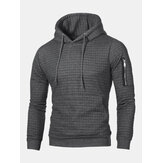 Mens Vintage Square Jacquard Pattern Hooded Sweatshirt