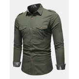 Men's New Epaulettes Pocket Climbing Outdoor Sports Solid Color Denim Shirts