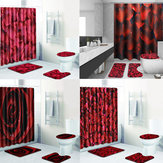 4Pcs/Set Bathroom Shower Curtain Set with Hooks Washable Toilet Seat Cover Pedestal Rug Lid Toilet