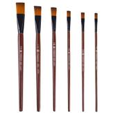 6 PCS Nylon Cabelo Caneta de madeira maciça Pintura em madeira plana Escova Conjunto 1/12 1/10 1/8 1/6 1/2 para pigmento acrílico guache