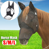 Deluxe Horse Fly Mask with Ears Mesh Anti-mosquito Zipper Style Pony/Cob/Full