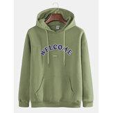 Mens Fashion Letter Printing Hooded Cotton Sweatshirt
