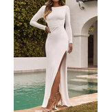 Solid Backless High Split Long Sleeves Casual Maxi Vestido