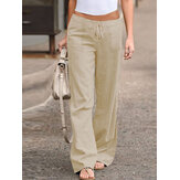 Solid Color Drawstring Waist Loose Wide Leg Casual Pants