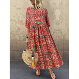 Women Three Quarter Sleeve Bohemia Vintage Print Floral Dress