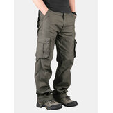 Mens Outdoor Leisure Cargo Pants Extra Large Pockets Straight Leg Trousers
