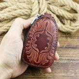 メンズ本革Vinatgeレトロウォレットカーキーケースバッグ
