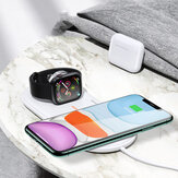 USAMS US-CD119 Double Coils 10W Qi Wireless Charger Phone Charger Earphone Charger Watch Charger for Qi-enabled Smart Phones Apple AirPods Pro Apple Watch Series 1 2 3 4 5