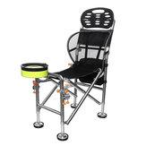 Tabouret de siège de pêche en acier inoxydable de chaise de pliage portative en plein air réglable 22cm camping relevable