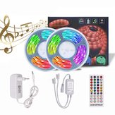 5M 10M Timer Music Control 5050 RGB À prova d 'água LED Strip Light + 40Keys RF remoto Control + EU Power Adapter DC12V