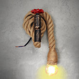 E27 Vintage Industrial Hemp Rope Pipe Wall Light Lamp Sconce Fixture Room Decor