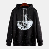 Fashion Space Printing Hooded Long Sleeve Casual Sweatshirt