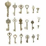 19шт античный бронзовый ключ ретро Кулон Набор ожерелье браслет Ножной браслет украшения