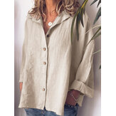 Frauen Casual Button Turn-Down Kragen Solid Bluse