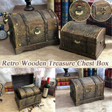 Retro Wooden Pirate Treasure Chest Box Gem Jewelry Case Storage Organizer Trinket Keepsake Treasure Case Decor with Lock