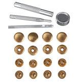 8 stuks gouden 15 mm / 12,5 mm drukknopen drukknoop drukknoop met bevestigingsset