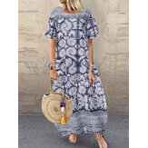 Women Loose Printed O-Neck Short Sleeve Side Pockets Dress