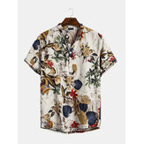 Mens Cottonn Tropical Leaves Prinnt Short Sleeve Oriental Henley Shirts