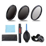 ND2 / 4/8 49/52/55/58/62/67/72 / 77mm Filter Lensa Tas Penyimpanan Lensa Hood Cap Blower Brush Kit Set