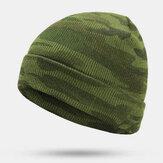 पुरुषों की छलावरण ऊन टोपी स्वेटर टोपी कान संरक्षण बुना हुआ बेनी टोपी Windproof गर्म बिब टोपी