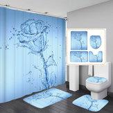 Impressão em 3D Romântico Flor de Água À Prova D 'Água Banheiro Cortina de Chuveiro Mat Capa de Banheiro Antiderrapante Tapete Tapete Banheiro Conjunto
