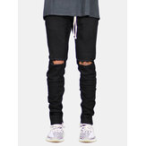 Skinny Ripped Drawstring Jeans