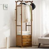 8 Gancho Perchero 2/3 Cajones Pantalón de tela con soporte de madera de bambú Percha Almacenamiento de oficina en casa