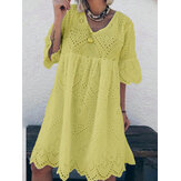 Women Summer Cotton Hollow Out Half Sleeve Casual Dress